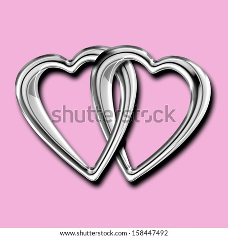 Two shiny silver hearts linked together as a token of shared love isolated on pink - stock photo