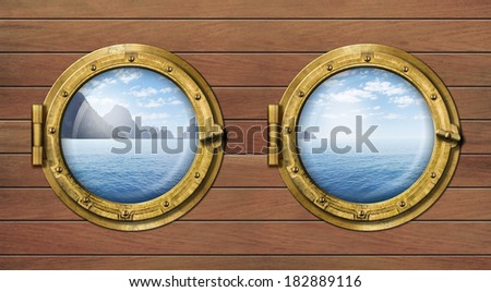 Two ship windows or portholes with sea or ocean with tropical island. Travel and adventure concept. - stock photo