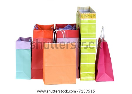 Two shopping bags full of something. Christmas, holidays, shopping, malls. - stock photo