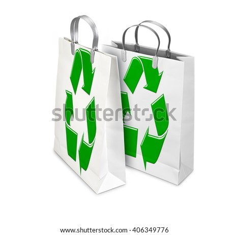 Two Shopping Bags opened and closed with recycling symbol isolated on white. There is a different path for each bag - stock photo