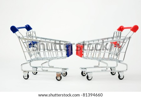 two shopping cart isolated  on the white - stock photo