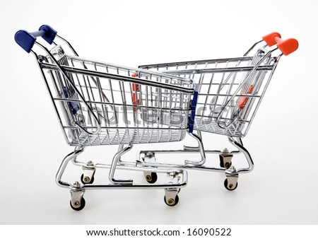 two shopping carts - stock photo