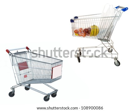 Two shopping trolleys under the white background