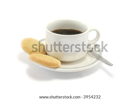 two shortbread biscuits and a cup of black coffee - stock photo