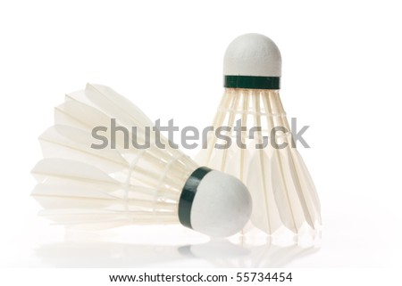 Two shuttlecocks isolated on the white background - stock photo