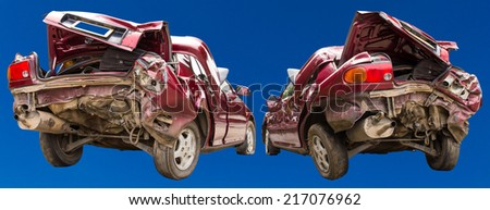 Two side view of a car accident with a red and blue background. - stock photo