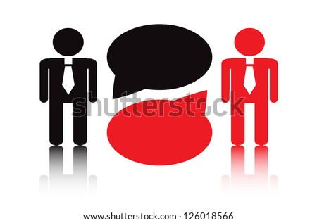 two silhouettes in a tie standing next to each other are business negotiations - stock photo