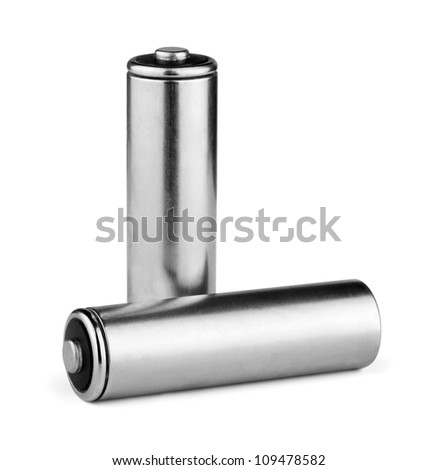 Two silver AA batteries isolated on white - stock photo