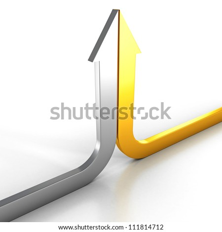 two silver and golden arrows grow up together - stock photo