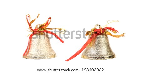Two silver jingle bells. - stock photo