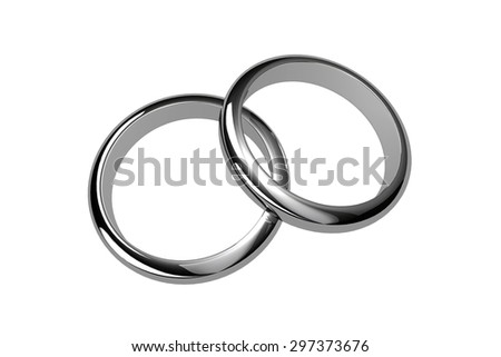 two silver rings - stock photo