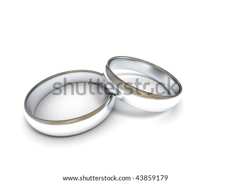 Two silver wedding rings on white background. High quality 3d render.