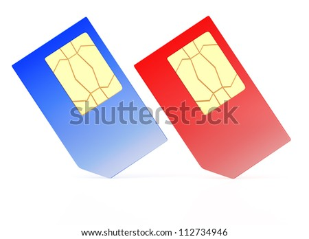 two SIM cards isolated on white background. 3d render