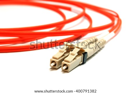 two single-mode optical connectors lc-type. front view. - stock photo
