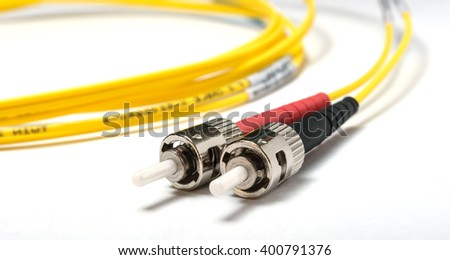 two single-mode optical connectors st-type. front view. - stock photo