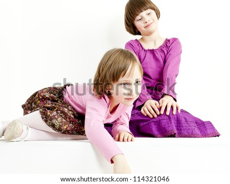 two sisters - stock photo