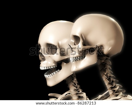 Two skeletons - stock photo