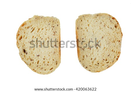 Two slice of whole gain bread on white background