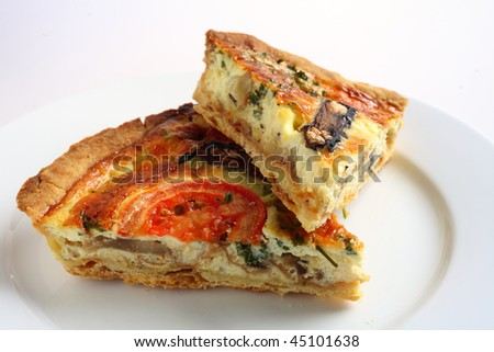 Two slices of a vegetarian mushroom quiche on a white plate - stock photo