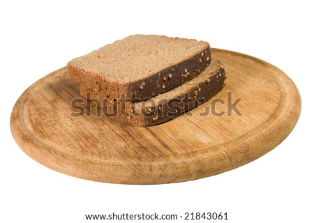 Two slices of brown bread on a wooden plate (isolated on white) - stock photo