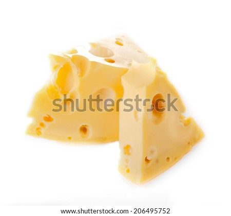 two slices of cheese with the big holes on white background - stock photo