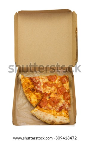 Two slices of pepperoni pizza in an open small cardboard box isolated on a white background.