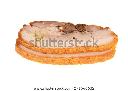 Two Slices Of Roasted Pork - stock photo