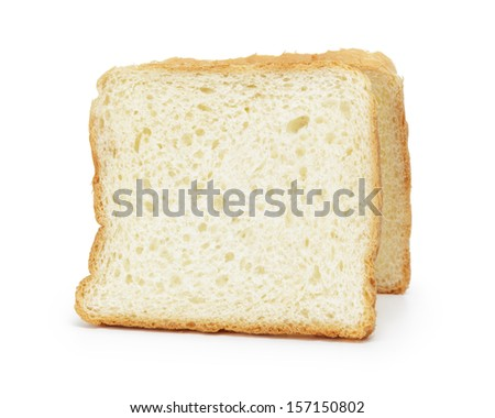 two slices of toast bread, isolated on white background