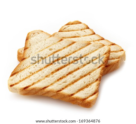 Two slices of toasted bread isolated on white background