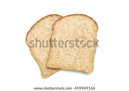 Two slices of wholemeal brown bread shot from above on white background