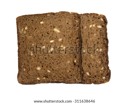 Two slices toasted rye bread with sunflower seeds, without yeast