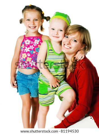 two small children with mother on a white background - stock photo