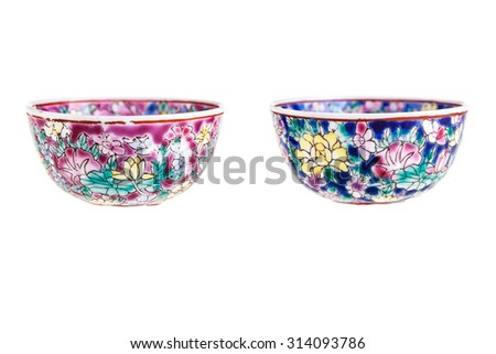 two small chinese soup bowls isolated over a white background - stock photo