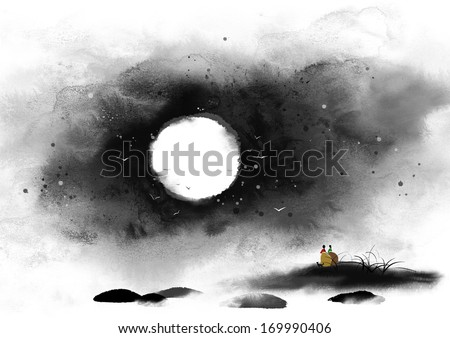 Two small figures stand in the distance under a full moon at night. - stock photo