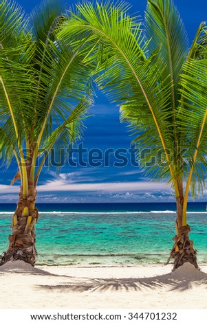 Two small palm trees over stunning blue lagoon, Cook Islands - stock photo