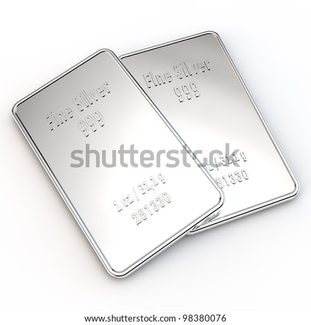 two small silver bars with the weight of 1 ounce - stock photo