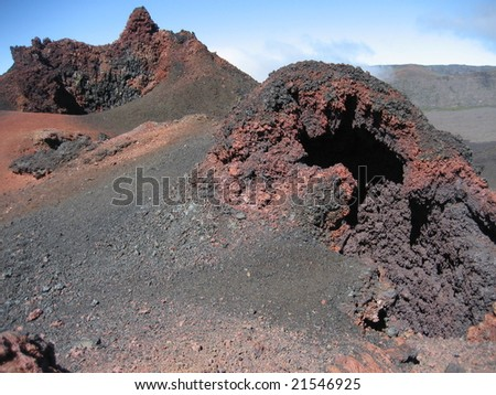 Two small volcanoes in Reunion Island - stock photo