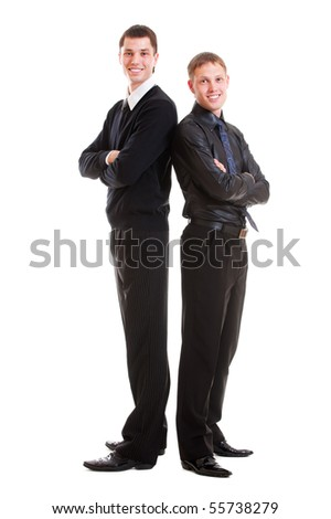 two smiley businessmen in formal wear. isolated on white background - stock photo