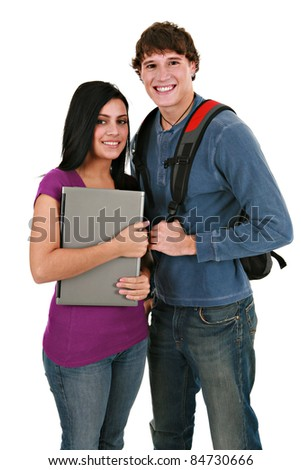 Two Smiling Casual Dressed College Student on Isolated White Background - stock photo