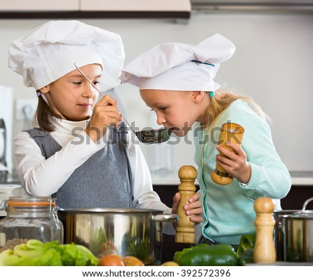 Two smiling cheerful  girls cooking vegetable soup at home kitchen - stock photo