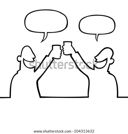 Two smiling people toasting with raised glasses