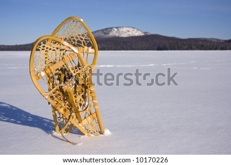 Two snowshoes standing in the snow with mountains in background - stock photo