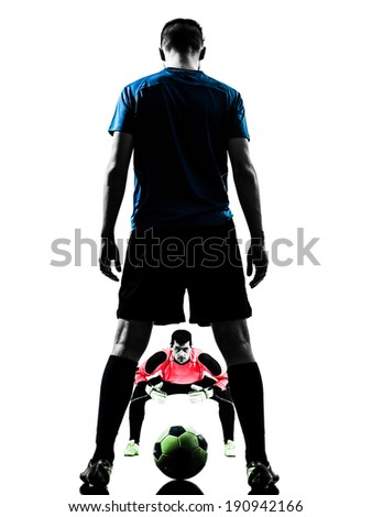 two  soccer player goalkeeper men face to face competition in silhouette isolated white background - stock photo