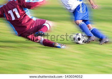 two Soccer Players in duel - stock photo