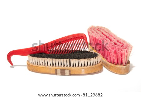 Two soft brushes and a comb-hoof pick combo for grooming horses