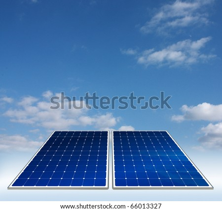 Two solar panels on the sky