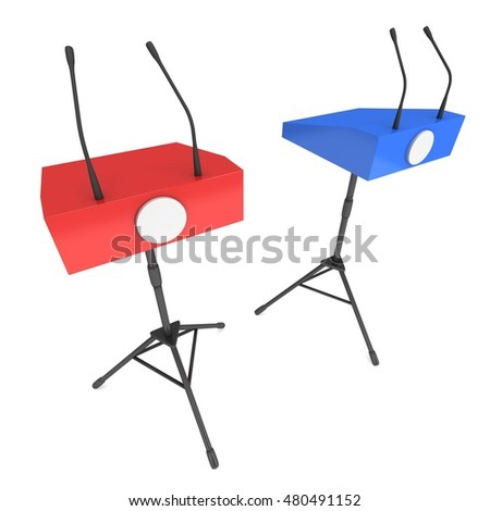 Two Speaker Podiums on Tripod. Red and Blue Tribune Rostrum Stand with Microphones. 3d render isolated on white background. Debate, press conference concept