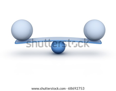 two spheres compare (balance concept) - stock photo