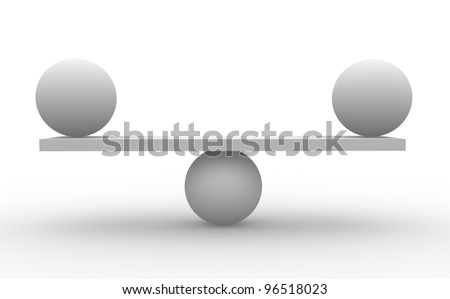 Two spheres in balance. (balance concept) 3d render - stock photo