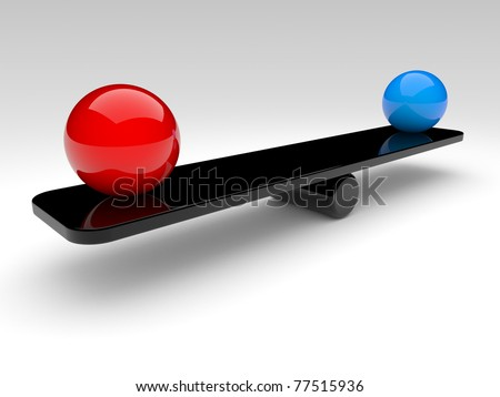 two spheres in balance. 3d rendered illustration. - stock photo